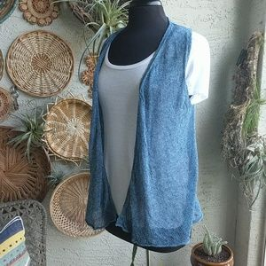 Uniqlo Medium blue sheer knit vest EUC